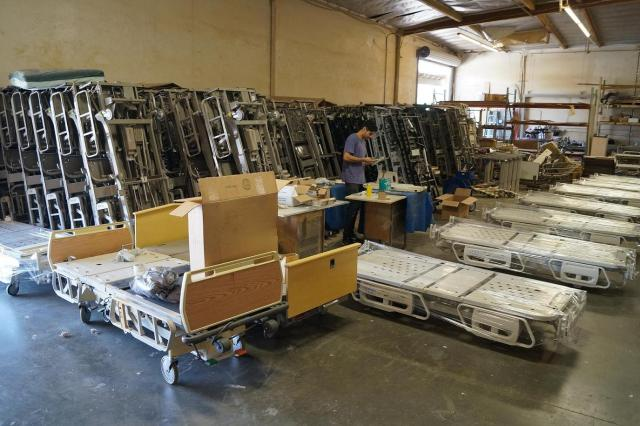 Hospital bed refurbishing factory warehouse Los Angeles