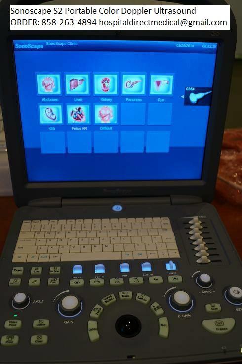 Sonoscape S2 portable color doppler ultrasound machine for sale ORDER 858-263-4894