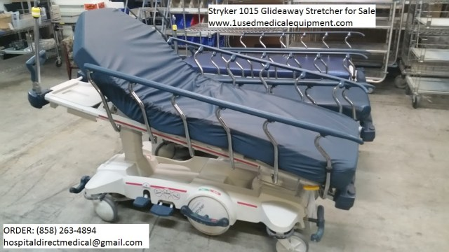 Stryker 1015 Glideaway Stretcher for Sale - call us at 858-263-4894 or email us at hospitaldirectmedical@gmail.com