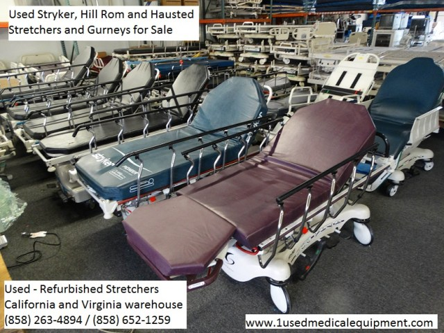 Used refurbished stretcher gurneys for sale by Hill Rom, Stryker and Hausted. Call to order 858-263-4894