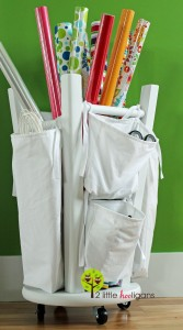 Wrapping Paper Organizer from Upcycled Stool- 2LittleHooligans.com