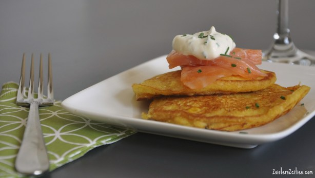corn pancakes with smoked salmon
