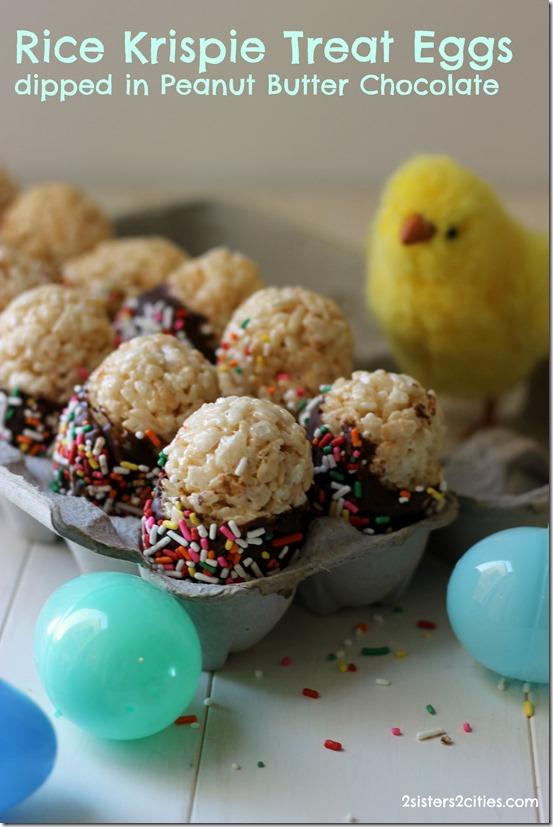 Rice Krispie Treat Eggs Dipped in PB Chocolate