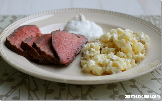 Roast Beef with a side of Cheesy Potatoes