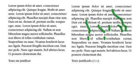 Ríos tipográficos en textos justificados