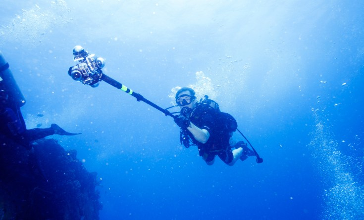 TIME Magazine's Jonathan Woods pictured diving with 360Heros scuba gear. Photo courtesy of TIME.