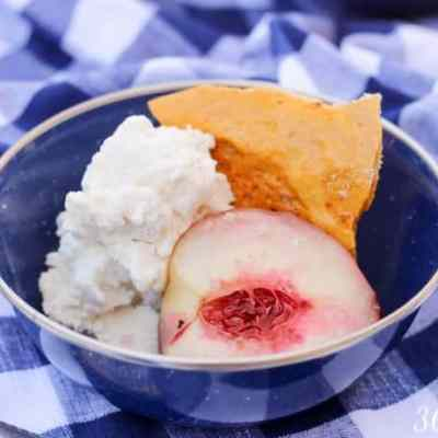 The airy, crunchy texture of honeycomb candy pairs so well with creamy vanilla ice cream and roasted white peaches drenched in their own sweet juices.