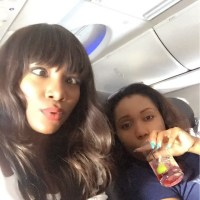 Genevieve Nnaji Crosses Her Eyes In The Most Funny Way Aboard An Airplane - PHOTO!