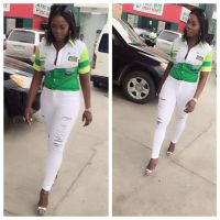 Tiwa Savage Looks Sexy as Ever As She Sells Petrol in Lagos - PHOTOS