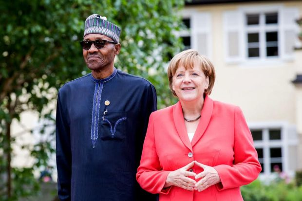 PIC. 2. PRESIDENT MUHAMMADU BUHARI AND THE GERMAN CHANCELLOR ANGELA MERKEL, AT THE WORKING SESSION OF THE G7 OUTREACH PROGRAMME IN SCHLOSS ELMAU, GERMANY ON MONDAY (8/6/15). 2973/87/6/15/ICE/BJO/NAN