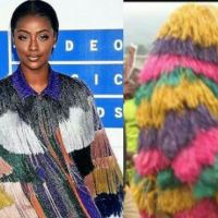 Wizkid's Girlfriend, Justine Skye Rocks Nigerian Masquerade Kind Of Outfit To MTV Awards (Photos)