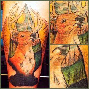 Modern Buck and Landscape | Aubrey | 39th Street Tattoo Kansas City
