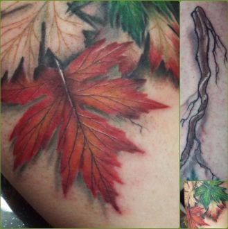 Photorealistic Leaf | Aubrey | 39th Street Tattoo Kansas City
