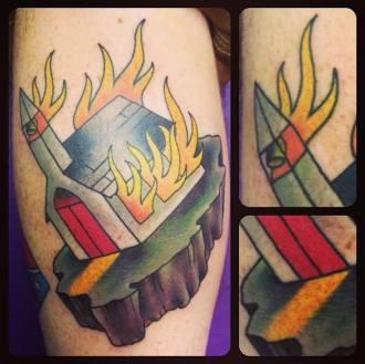 Burning Church| Aubrey | 39th Street Tattoo Kansas City