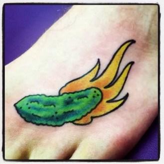 Flaming Pickle | Aubrey | 39th Street Tattoo Kansas City