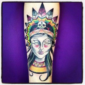 Old School Indian Ghost Woman   Aubrey   39th Street Tattoo Kansas City