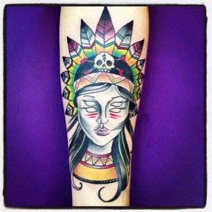 Old School Indian Ghost Woman | Aubrey | 39th Street Tattoo Kansas City