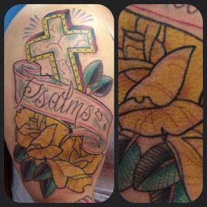 Old School Psalms 23:6 Cross   Aubrey   39th Street Tattoo Kansas City
