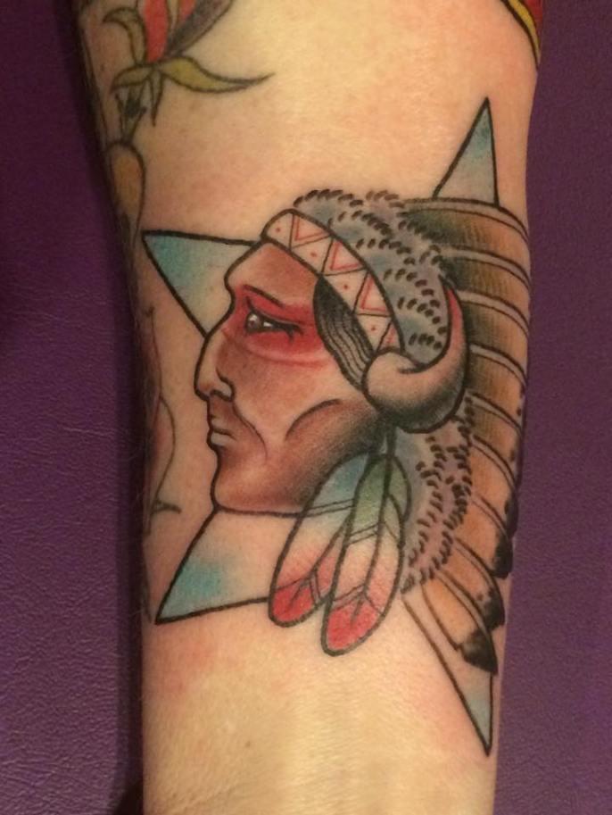 Old School Indian Chief | Aubrey | 39th Street Tattoo Kansas City