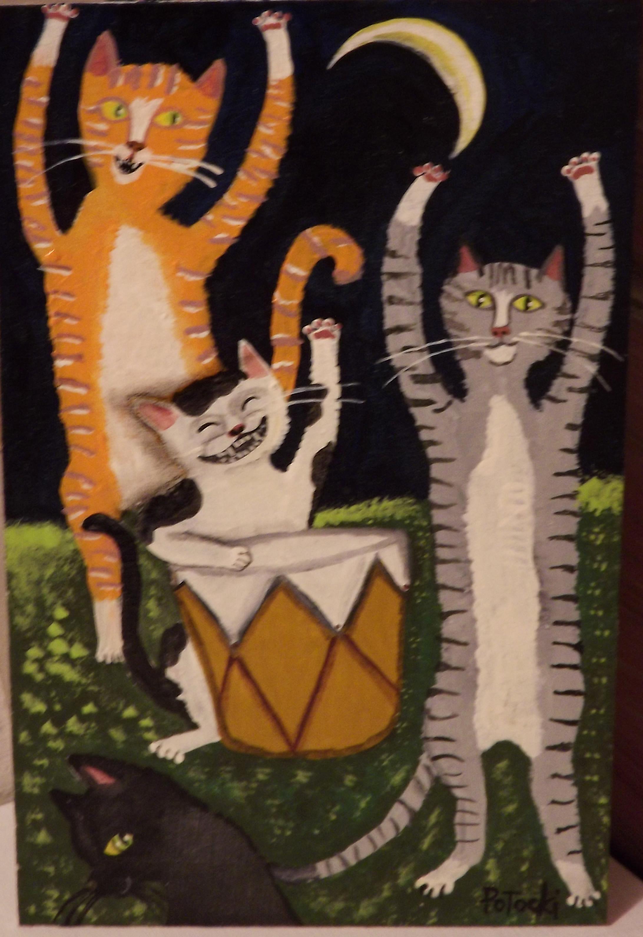 Moon Cats dance  5x8 acrylic on wood board