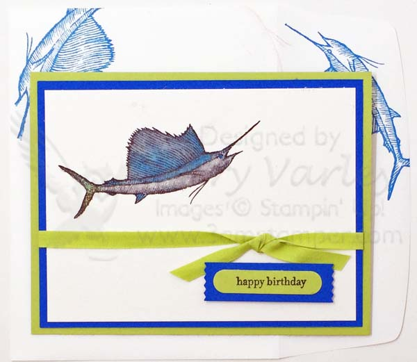Pear Pizzazz Swordfish Birthday Card - Visit http://www.3amstamper.com