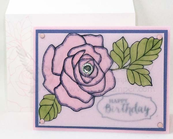 Pink Pirouette Faux Stained Glass Birthday Card - Visit http://www.3amstamper.com