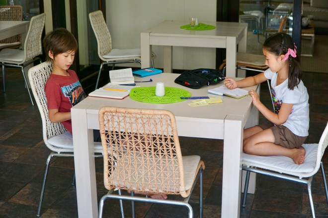 Writing our journals in Windhoek.