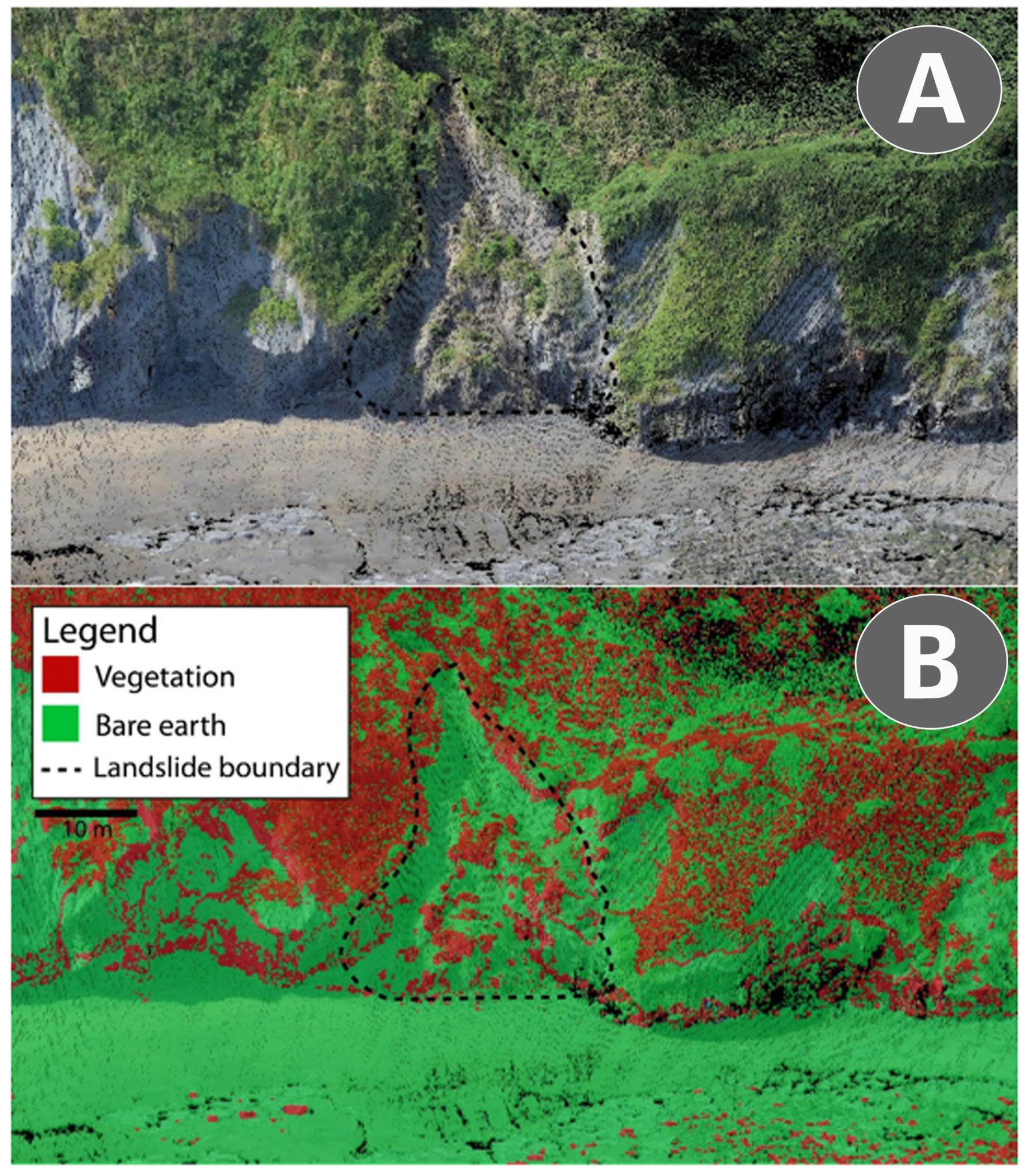 (A) 3D coloured point cloud of study area. (B) Results of terrain surface classification - 72