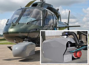 Helipcoter used for aerial survey mounted with StreetMapper pod 72