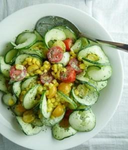 cucumber, tomato, & corn salad