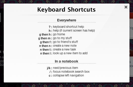 Springpad Keyboard Shortcuts
