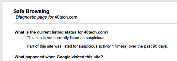 Google safe browsing diagnostic tool