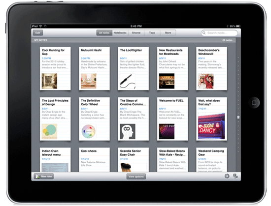 New Evenrote Design for iPad | From Evernote Blog