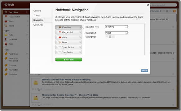 Springpad Notebook Navigation Customization | 40Tech