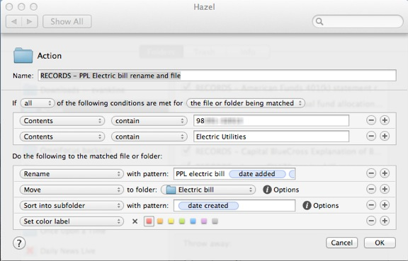 Hazel paperless filing rule