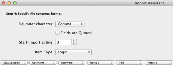 LastPass to 1Password value columns