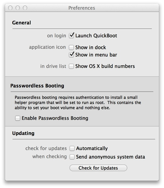 QuickBoot Preferences