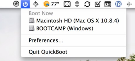 QuickBoot menu bar
