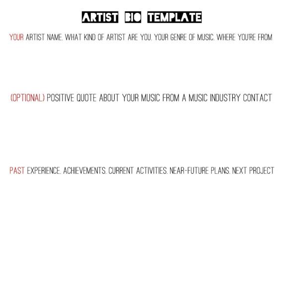 Artist Bio Template