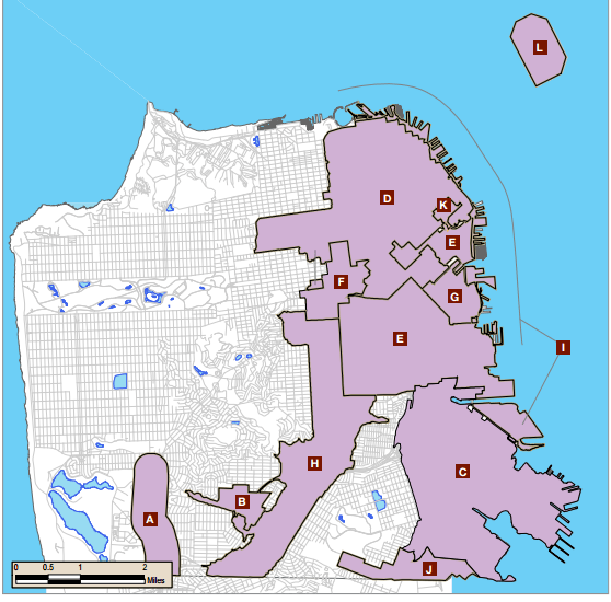 Priority development areas in San Francisco