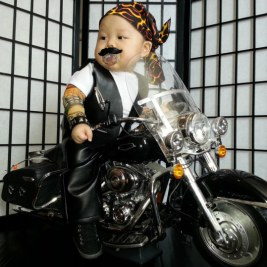 A biker baby. Love the bike!