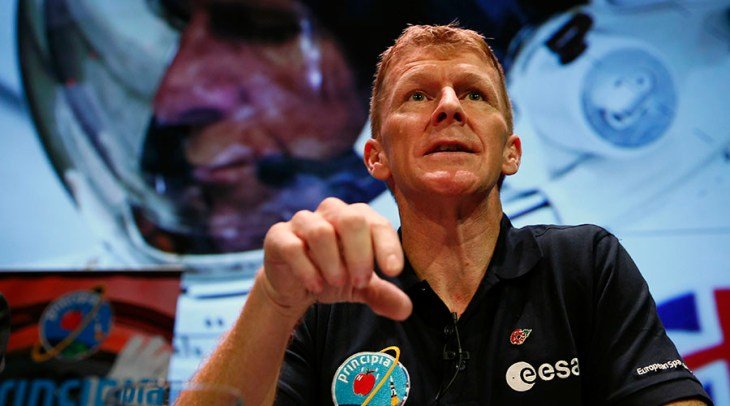 British astronaut Tim Peake speaks during a news conference at the Science Museum in London, Britain November 6, 2015. Peake will be the first British astronaut to visit the International Space Station, in a European Space Agency mission due to be launched in December.  REUTERS/Stefan Wermuth - RTX1V0U5