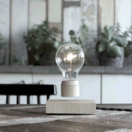 The energy-efficient invention hovers in the air using magnetic levitation and rotates if spun