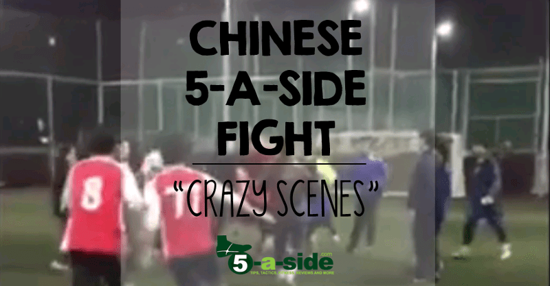 Chinese 5-a-side fight players dressed in Arsenal shirts
