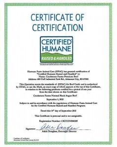 Certified Humane Certificate