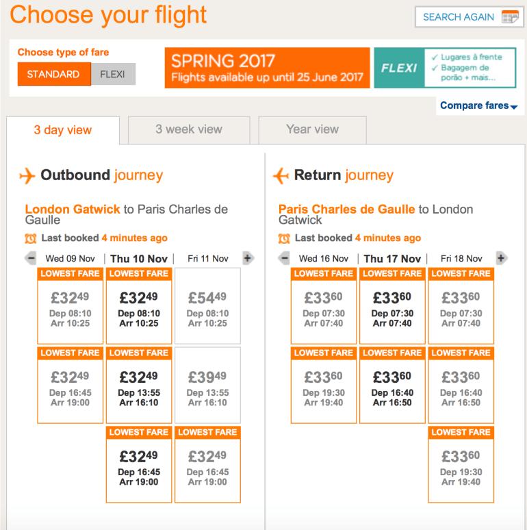 Flexible dates flights
