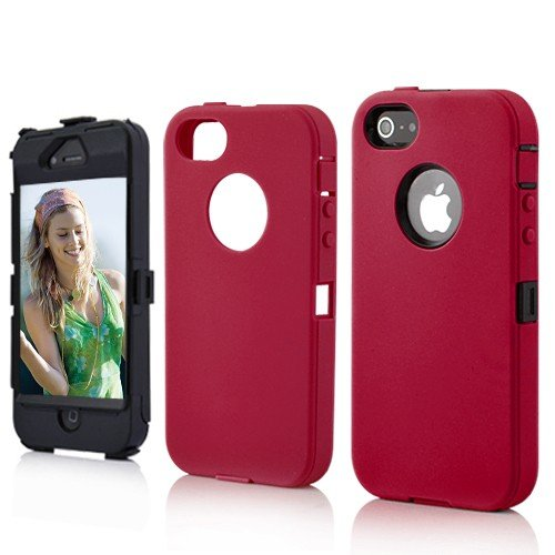 Red Rugged Heavy Duty Hard Dual Layer Weather and Water Resistant Case for the NEW Apple iPhone 5