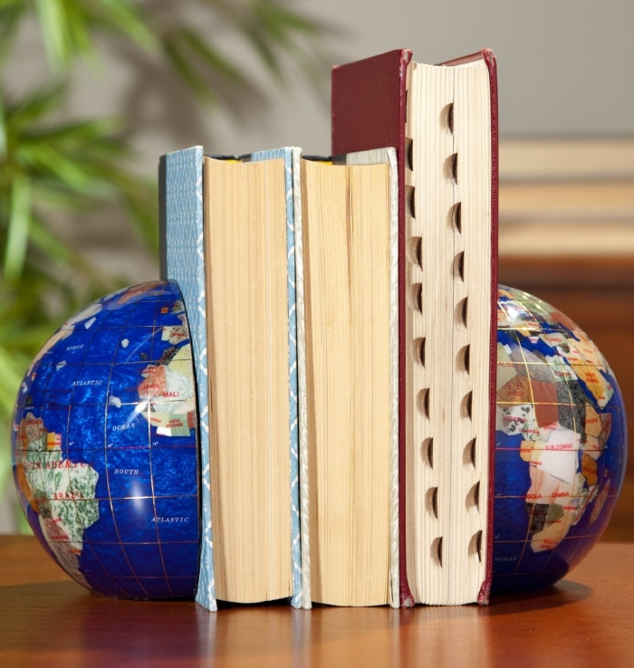 Blue Lapis Gemstone Globe Bookend