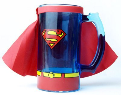 Superman Animation Caped Glass Beer Mug Stein