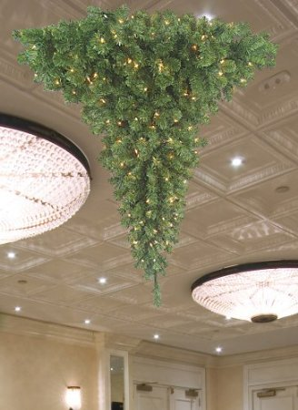 Barcana 3-Foot 200 Clear Christmas Light Ready Trim Chandalier Upside Down Christmas Tree